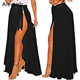 HITSAN INCORPORATION Aleumdr Summer Women Cover Up Long Sheer Wrap Beach Tie-up Skirt Slit High Waist Bikini Cover-up LC42275 Robe De Plage Color Black Size One Size