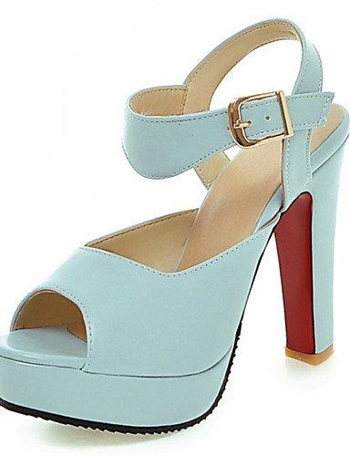 LFNLYX Scarpe Donna-Sandali-Matrimonio / Formale / Casual / Serata e festa-Tacchi / Spuntate-Quadrato-Finta pelle-Blu / Rosa / Bianco Blue