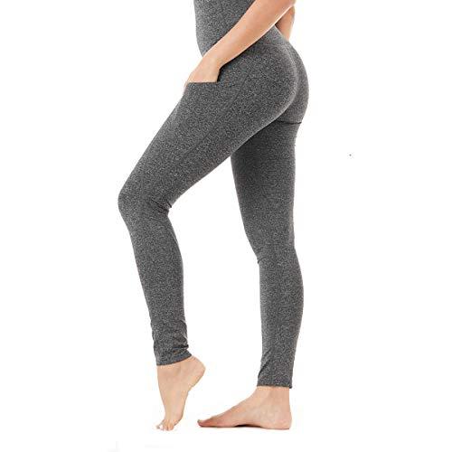 SANMIO Sport Leggings Damen Yoga, Yogahosen für Damen mit Taschen Wunderbare Jogginghose Fitness Ultrasport Sporthose für Damen S-XXL Neu im Jahr 2019 (Blume grau, M)