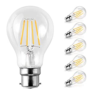 Ascher LED Classic B22 Bayonet Cap Light Bulbs/6W, Equivalent 60W, 800lm/Warm White 2700K/Filament Clear/Non Dimmable/Pack of 5