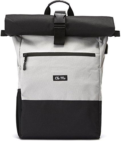 Ela Mo\'s Rucksack Damen Herren | Schön und Durchdacht | für Uni Reisen Freizeit Job | mit Laptopfach & Anti Diebstahl Tasche | Grau