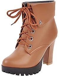 fd305ef898a2 AIYOUMEI Damen Schnürstiefeletten Plateau Ankle Boots Blockabsatz High  Heels Stiefeletten 10 cm Absatz