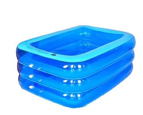 Tragbare Sicherheits-dusche (LINAG Kinder Aufblasbare Schwimmbad Pool Planschbecken Sand-Teich Wasser Tragbaren Faltbar Sicherheit Wanne Badewanne Strand Rechteck 3 Ringe Umwelt PVC 150CM)