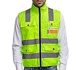Chaleco reflectante profesional de seguridad, con neon amarillo, tiras reflectantes, cuatro bolsillos grandes con cremallera