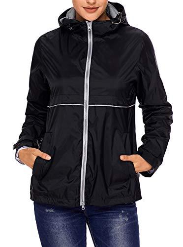 SWISSWELL Damen Regenjacke Wasserabweisend Langarm Hooded Regenmantel Übergangsjacke aus 100% Nylon Outdoor Winddicht Wasserdicht Kapuzenjacke Schwarz 2XL