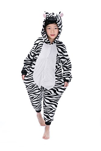 Kigurumi Pyjamas, Kinder Pyjamas Tier Einhorn Jumpsuit Nachtwäsche Unisex Cosplay Kostüm für Mädchen und Jungen Kinder cosplay Halloween (L:Height(43.3inch-47.3nch / 110cm-120cm), (Mädchen Für Kostüme Zebra)