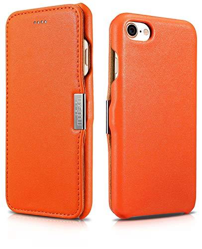 Mobiskin Tasche für Apple iPhone 8 und iPhone 7 (4.7 Zoll) | Case mit Echt-Leder Außenseite | Schutz-Hülle seitlich aufklappbar | Ultra-Slim Cover | dünne Klapphülle | Etui | Orange