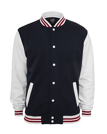Urban Classics 3-Tone College Sweat Jacket Giacca Uomo Regular Fit Navy White Ruby
