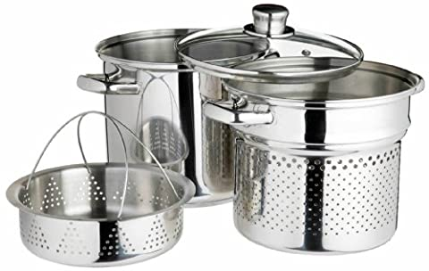 Kitchen Craft World of Flavours Italian Stainless Steel 4 L Pasta Pot with Steamer Insert, 20 cm
