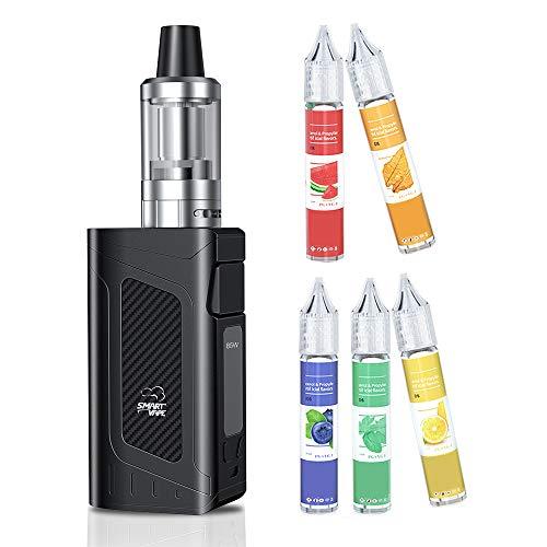 Cigarette Électronique, JOMO TECH X16 80W Cigarette Electronique Kit Complet 2000mAh Batterie+5x10ML E Liquid + écran LED réglable, sans Nicotine ni Tabac