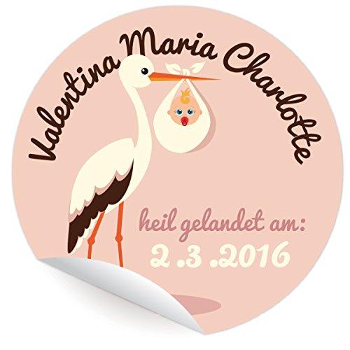 24 individuelle Baby Geburts Aufkleber | Custom Sticker für Mädchen, MATTE universal Papieraufkleber mit ihrem Text und Farbe nach Wunsch (ø 45mm