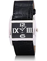 Horo Black Analog Rectangular Leather Wrist Watch 33X42mm