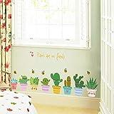Eeayyygch Wandaufkleber Aufkleber Wasserdicht Abnehmbar für Wohnzimmer Kinder Baby Nursery Wandgemälde Wand Eckschrank kleine Topfpflanzen an der Linie der Kaktuspflanzen groß (Farbe : -, Größe : -)