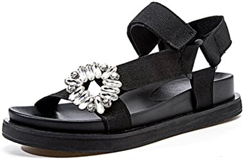 Sandalias De Playa De Verano Mujer Suave Inferior Grueso Playa Zapatillas De Baño Negro De Vacaciones