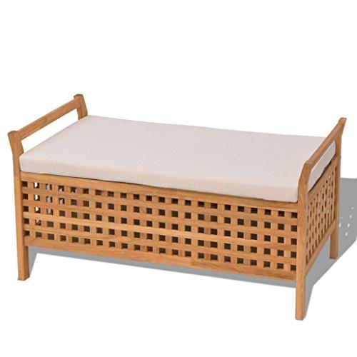 Festnight Sitzbank Holz Truhenbank mit Stauraum aus Massives Walnussholz Multifunktionsbank 93x49x47cm Sitzkomfort für Flur Schlafzimmer oder Bad