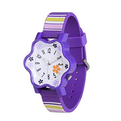 Kleine Mädchen-Wasserbeständigkeits-Quarz-analoge Armbanduhr, Neihou, einzigartiger Entwurfs-nette Blumen-Form, Sport-Uhr im Freien für Kindermädchen-Violett WG01301 (Im Freien Sauna)