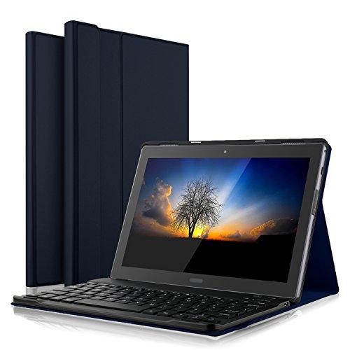 IVSO Lenovo Tab4 10 Plus QWERTZ Tastatur, Abnehmbare Wireless Bluetooth Tastatur Schutzhülle mit Standfunction für Lenovo Tab4 10 Plus/Lenovo Tab 4 10 Plus Tablet, Blau