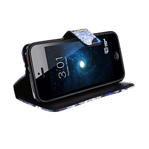 GrandEver PU Leder Handy Tasche für iPhone 5C Hülle Wallet Case Bookstyle mit Standfunktion und karten Slot Flip Holster (Schmetterling) Schmetterling