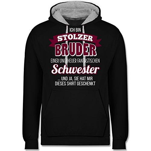 Shirtracer Bruder & Onkel - Ich Bin stolzer Bruder - S - Schwarz/Grau meliert - JH003 - Kontrast Hoodie Bruder Hoodie