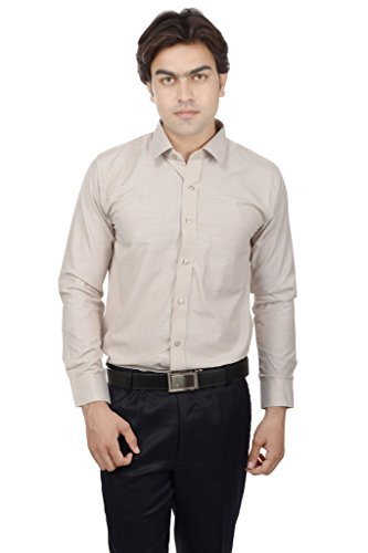 25th R Beige Cotton Blend Slim Fit Solid Plain Formal Shirts For Men