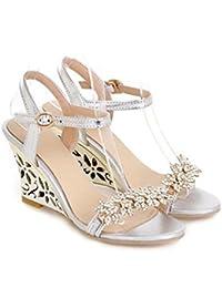 48dfc4d2 MHX Zapatos de Mujer PU Primavera Verano Club Zapatos Sandalias Tacón de  cuña Hebilla de Diamantes