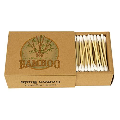 Boccioli di cotone e bambù, stelo in legno, ecologici, tamponi organici