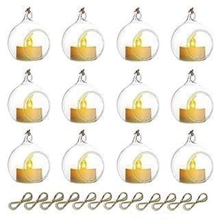 Candelabro Colgante De Vidrio, Colgante De Cristal Con Vela LED, Decoración De Velas Para Mesas De Boda / Fiesta, Decoraciones De Navidad / San Valentín, 20 Pcs + 4 Pcs