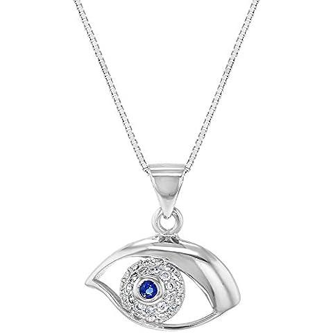 In argento Sterling 925con zirconi blu chiaro occhio greco Nazar Ciondolo 18