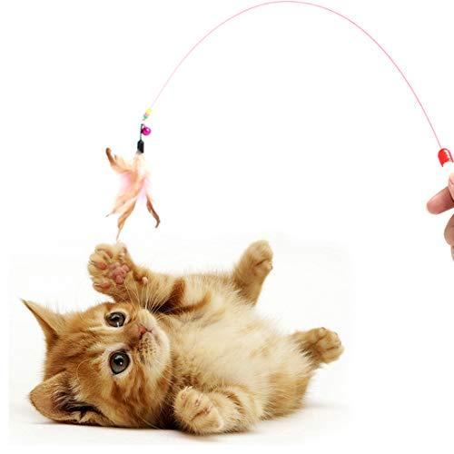 Digiflex Bacchetta elastica da 36' (91.44 cm) con campanella e piuma per giocare con il gatto.