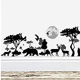 ZBYLL Stickers Arbre Sauvage Jungle Elephant Animaux Ours Noir 30 * 90cm décoration Salon Stickers muraux décoratifs Art Mural en PVC