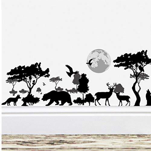 ZBYLL Pegatinas De Pared Árbol Elefante Salvaje Selva Animales Oso Negro 30 * 90Cm Decoracion Salón Vinilos Adhesivos Decorativos Arte Mural De PVC