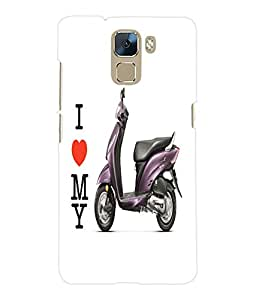 Fuson 3D Printed Scooty Walpaper Designer Back Case Cover for Huawei Honor 7 - D785