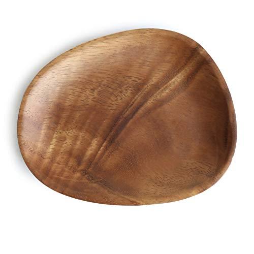 CJUERLS Geschirr Oval Durable Multi Purpose Tray Dessert Geschirr Home Fruit Pan Unregelmäßiges Abendessen Untertasse Platte Massivholz Platte Oval Tray
