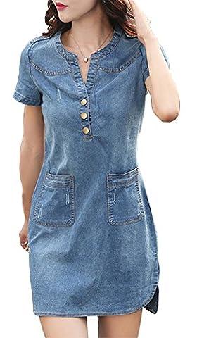 HONFON Damen Sommer Blusenkleid Beiläufige Denim Kurze Ärmel V-Ausschnitt Umlegekragen Schlank Jeanskleid Minikleid Hemdkleid AbendKleid