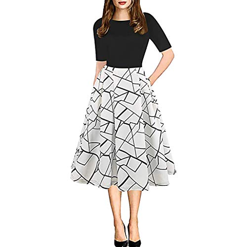 BfmyxgsRundhals Retro Stitching Flower Print Pettiskirt Kleid Rock Toto Kleid Shirt Kleid Hochzeitskleid Cocktail -