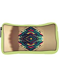 Snoogg Eco Friendly Canvas Spiral Zoyd Student Pen Pencil Case Coin Purse Pouch Cosmetic Makeup Bag