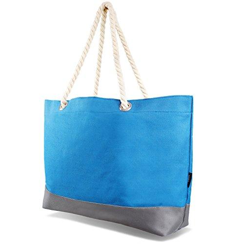 Tarjane Beachbag Grosse Strandtasche Badetasche für Damen Weekend Bag - Hellblau