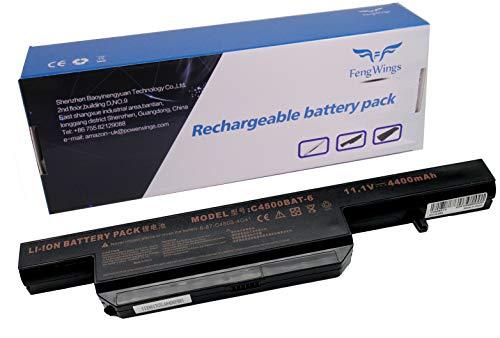 FengWings 11.1V 4400mAh C4500BAT-6 6-87-C480S-4G4 6-87-E412S-4D7 Laptop Akku Kompatibel mit Clevo C4500 / C4501 / C4505 / C4800 / C4801 / C4805 / B5130M / B7110 / B7130 / E4105 / E4107 TERRA MOBILE 1509 / 1511 / 1512 / 1526 / 1527 / 1547 / 1528