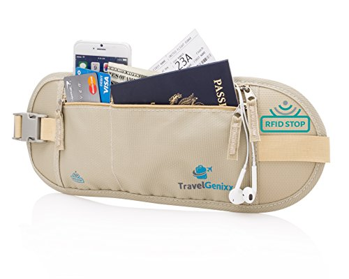 Travelgenixx Marsupio portasoldi, Beige (beige) - Money Belt Large Beige