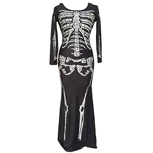TEBAISE Skelettkostüm für Damen Skelett Kleid lang Damen Kostüm schwarz Halloween Knochenkleid Tod Zombie Horror Karneval Fasching(Schwarz,XL)