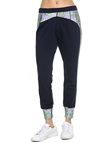 Coorun Frauen Casual Sport Fitness Patchwork schlanke Yoga Hose Leggings Ausführung Navy-Blau