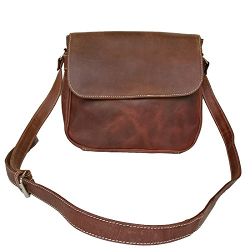 Mad Over Shopping Damen Buffalo Leder Geldbörse Satchel Tasche Damen Schulter Cross Body Brown Schlinge