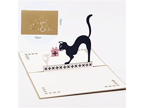(3D Pop UP Grußkarten 3D Pop Up Grußkarte Katze und Maus Design beste Wunschkarte Geschenkkarte (Gold) Jubiläum Einladung Hochzeit)