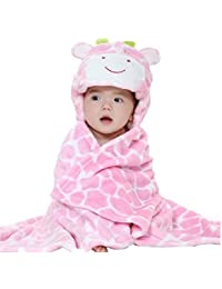 Oksakady Baby Swaddle Wrap Infant Toddler Animal Bathrobe Fleece Towel Blanket with Hooded for Bath Pool Beach Shower Gift (Pink Giraffe)