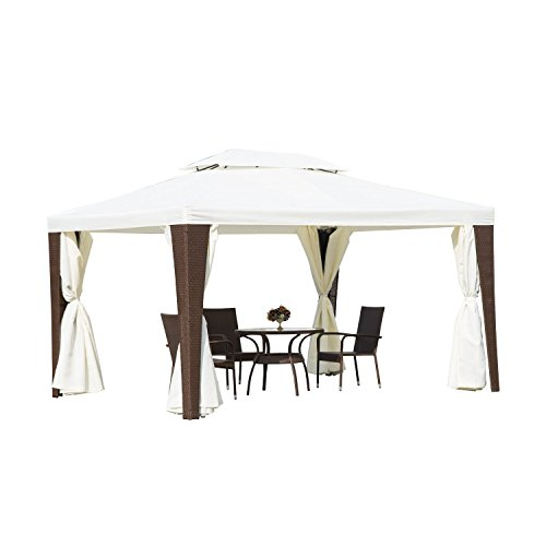 Outsunny Rattan Furniture 3m x 4m Metal Gazebo Marquee Party Tent Canopy Pavillion Patio Garden Shelter w/ Nets and Sidewalls