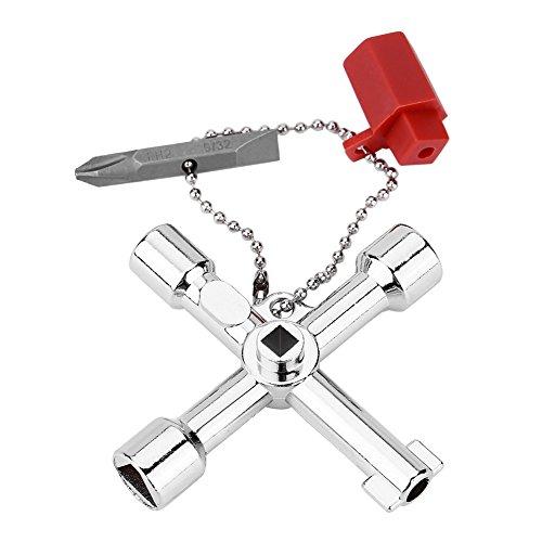 Fdit 4 Way Kreuzschlüssel Bit Zink-Legierung multifunktionale Universalöffnung Schlüssel Klempner Elektriker Werkzeuge für Wasserzähler Ventil Elektrische Box Schrank