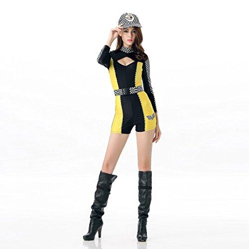 Nihiug Halloween Sexy DS Kostüme Weibliche Sänger Kleidung Auto Modelle Bekleidung Damen Ausrüstung Racing Mädchen Streich Kleidung Kultur Schrecklich,Yellow (Halloween Taxi Kostüm)