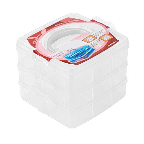 Dtuta Tragbare Neue transparente Kunststoff DREI-Schicht Schmuck Perlen Aufbewahrungsbox Container staubdicht Manager Fall Handwerkzeug