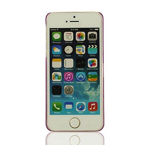 Transparent Flüssigkeit Fluid Universum Design Schutzhülle iPhone 5 5S 5G Hülle Case Cover, Kristall Klar Transparent Typ, Schön Fluid Universum, Bunt Serie Schlank Schwer Rigid iPhone 5S Tasche + Sil Lila