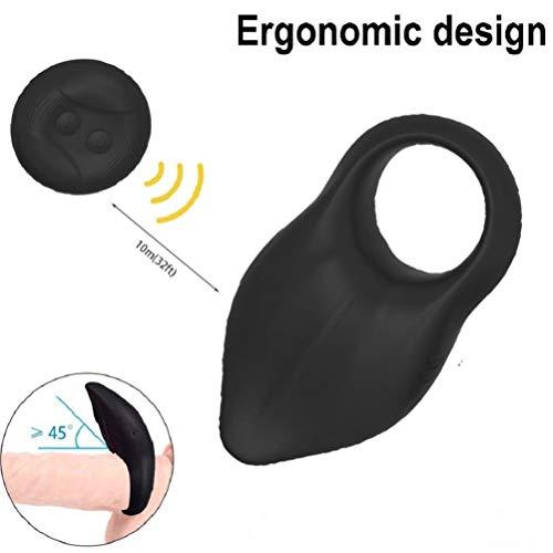 JOURLOVE Anneau Vibrant Pour Homme Silicone 10 Modes de Vibration Télécommande Sans Fil-Noir